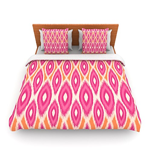 "Kess Inhouse Amanda Lane ""Pink And Orange Moroccan"" Magenta Tangerine King Fleece Duvet Cover, 104 By 88-Inch front-965570"