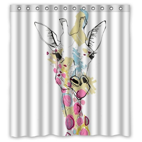 Custom Unique Design Animal Giraffe Waterproof Fabric Shower Curtain, 72 By 66-Inch front-321050
