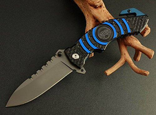 Assisted Swtooth Rescue Blue And Black Pocket Folding Strap Holder Knife 169-0.78''