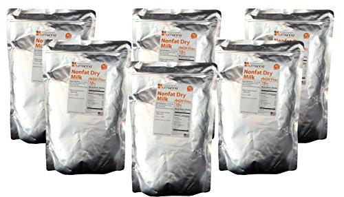 6 Pack Hormone-Free USDA Nonfat Dry Milk Powder 40 Serving Pouches. 10+ Shelf Life Condensed Powdered Milk - rbGH Free ( 6x Pouches )