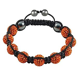 Nine Swarovski Orange Crystal Balls with Magnetite Beads Black Cord Macrame Shamballa Bracelet TP2116