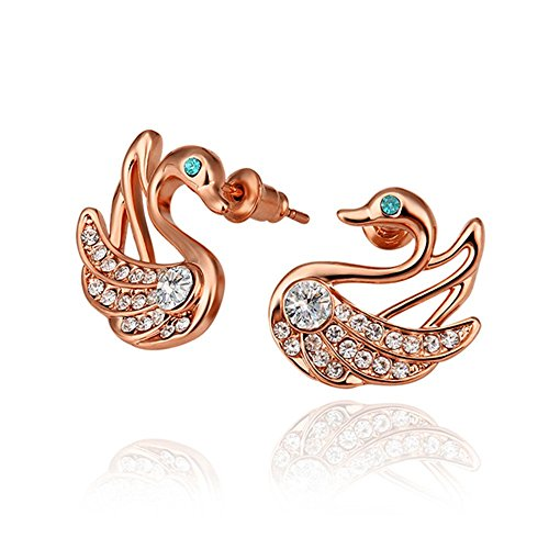 NYKKOLA Fashion Jewelry-Ciondolo a forma di cigno con Swarovski, Piumino elegante, placcata in Oro Rosa da 18 K; orecchini a perno
