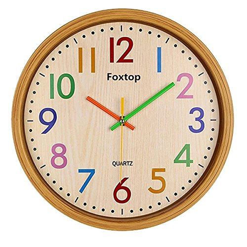 foxtop-125-inch-modern-colorful-silent-wall-clock-non-ticking-digital-quiet-sweep-decorative-wooden-