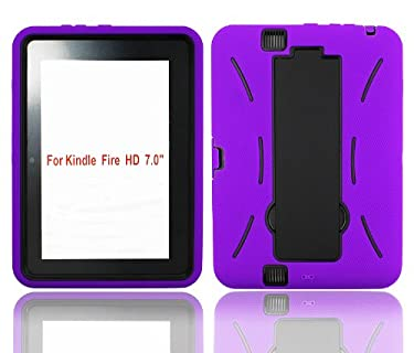 "FlipStands Kindle Fire HD 7"" (2013) ""Tough Grade"" Shock Proof Case with Built in Stand and Stylus - Purple"