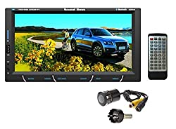 SoundBoss COMBO OF 2Din Bluetooth Car Video Player 7'' HD Touch Screen Stereo Radio FM/MP3/MP4/MP5/Audio/USB/TF/AUX/REAR VIEW CAMERA Connectivity + NIGHT VISION REAR VIEW CAMERA