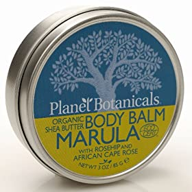 Planet Botanicals ECOCERT Organic East African Shea Butter Body Balm, Marula with Cape Rose, 3.0-Ounce Jar