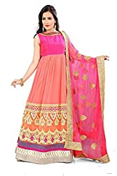 Priyanshu Creation Women's Net Dress Material (Pink)