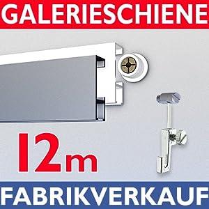 Galerieschiene 12m, Komplettset mit Zubehoer in weiss   Kritiken und weitere Informationen