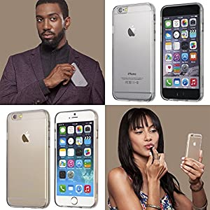 """iPhone 6S Case, Totallee [The Spy] Flexible Slim Shock Absorbing Crystal Clear Soft Cover for Apple iPhone 6 (4.7"""" Version) - Fully Transparent"""