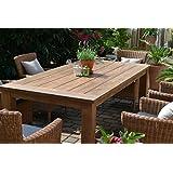 Teak Sitzgruppe Garten Garnitur Tisch (200x100) und 6 Sessel / Stühle Rattan und recyceltes Teak Java 6