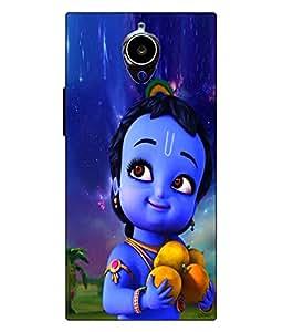 Make My Print Krishna Printed Blue Hard Back Cover For Gionee Elife E7