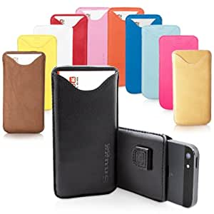 iPhone 5 / iPhone 5S Case, SnuggTM - Black Leather Pouch Cover with Card Slot & Soft Premium Nubuck Fibre Interior - Protective Apple iPhone 5S Sleeve Case - Includes Lifetime Guarantee