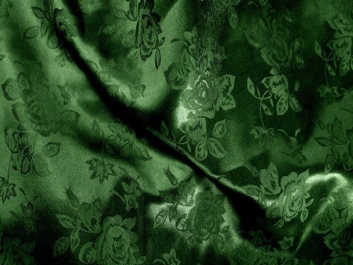 1 X Brocade Jacquard Satin Dark Hunter 60 Inch Fabric By the Yard from The Fabric Exchange ® by The Fabric Exchange