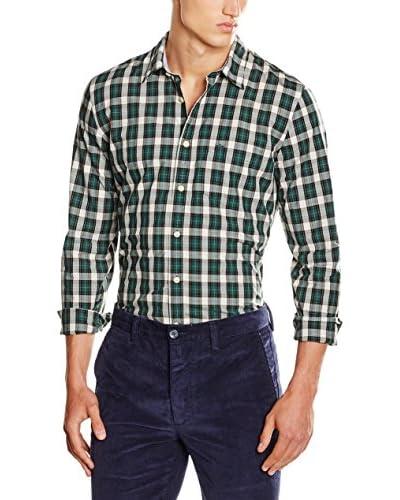 Dockers Hemd Laundered Poplin grün/weiß XL