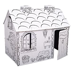 Kids Folding Cardboard Paper House Coloring Playhouse Kit - Town Cottage