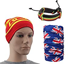Sushito Wollen Red Unisex Skull Cap With Bandana & Wrist Band