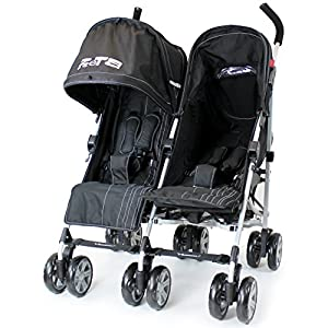 Zeta Twin Pushchair Complete With Raincover (Black) from Baby Travel®