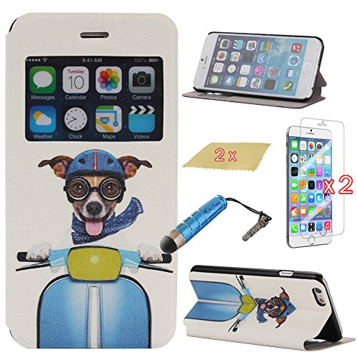 Koojoee(Tm) Slim Flip Cover Folio Pu Leather Case With View Window For Apple Iphone 6 Plus (5.5 Inch Screen) + One Koojoee Stylus + Two Screen Protectors + Two Microfiber Cloth (Cool Fashion Driving Dog)