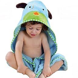 Bigood Baby Cartoon Cotton Animal Hooded Bathrobe Cloak Towel Blue