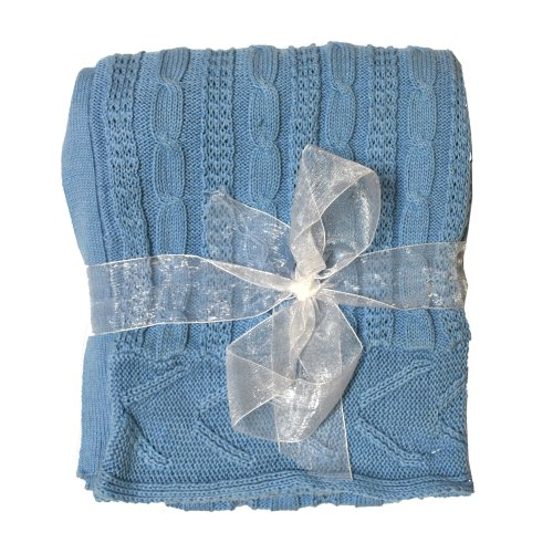 Little Beginnings Girls Cable Knit Blanket (Blue)