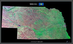 "Nebraska from space satellite map / print poster / photo: 40"" x 24"" Glossy"