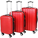 Vojagor TRSE06 Set of 3 Hard Shell Suitcases DIFFERENT COLOURS (Red)