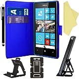 BAAS® Bleu Etui Housse Coque en Cuir Portefeuille pour Nokia Lumia 520 + 3 x Film de Protection d'Ecran + Stylet Pour Ecran Tactile