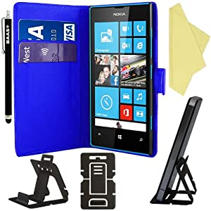 BAAS® Nokia Lumia 520 Blue Leather Case Wallet Pouch Flip Cover with Card Holder , Screen Protector Film & Stylus Pen