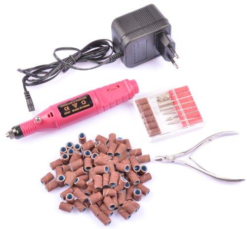 Hotenergy 220V European Plug Mini Electric Nail Art Drill Machine + 100Pc Sanding Bands + Nail Nipper