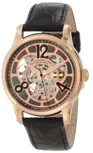 Stuhrling Original Women's 365.134527 Vogue Audrey Rosetta Automatic Skeleton Watch with Mother-of-Pearl Dial