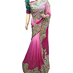 Pink Designer Pure Georgette With Embroidered lehenga Saree.