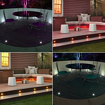 Set of 10, Colour Changing RGB LED Decking / Deck / Plinth Lights + Wireless Controller (high quality stainless steel lights - ideal for kitchen plinths, patio lighting, stairs, etc)