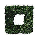 Mills Floral Boxwood Country Manor Square Wreath, 12-Inch
