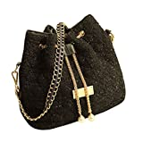 uxcell 女性用 韓国スタイル モノクロチェーンバッグ ショルダーバッグ ハンドバッグ