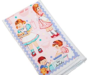 Vintage-style Kids Cooking Baby Girl Burp Cloth