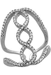 Sterling Silver Cubic Zirconia Double Helix Ring Micro Pave 1 inch Long, sizes 6 - 9