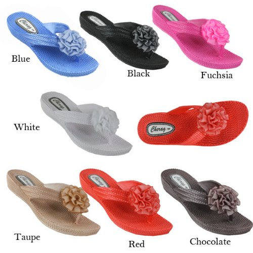 D3678 Toe post flower gel sandals Fuchsia Ladies-UK3|EU36