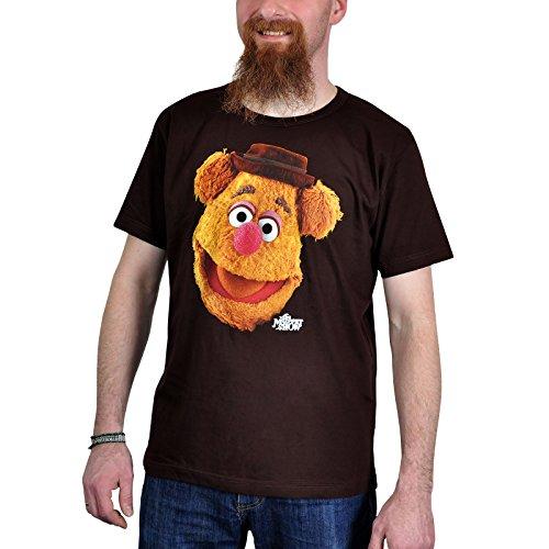 Muppets - T-Shirt Easy Fit con stampa cult di Fozzie in stile retrò - L'orso comico dei Muppets Show - Licenza ufficiale - Marrone - XXL
