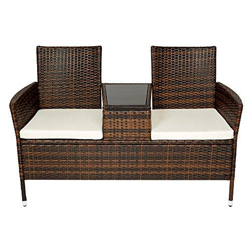 tectake sitzbank mit tisch poly rattan gartenbank gartensofa inkl sitzkissen schwarz braun. Black Bedroom Furniture Sets. Home Design Ideas