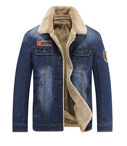Invernale da uomo lungo denim Giacche in pile con collo di pelliccia blu 66009a Light Blue XX-Large