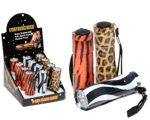 Flashlight Animal Print With 9 Leds 3.5 Inch Assorted Prints