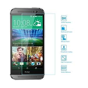EasyAcc HTC ONE M8 Glas Folie Schutzfolie Panzerfolie Displayschutzfolie für HTC ONE M8 Klar Anti-Kratz-Screen Protector Displayschutz Displayfolie - 9H Hardness aus gehärtetem Glas