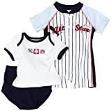 Babyworks Baby-boys Newborn 3 Piece Baseball Romper Diaper Set, Blue, 6-9 Months