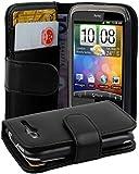 Cadorabo ! PREMIUM - Buch Style Hülle im Portemonnaie Design für HTC Wildfire G8 (NICHT für S-Version) in KAVIAR-SCHWARZ