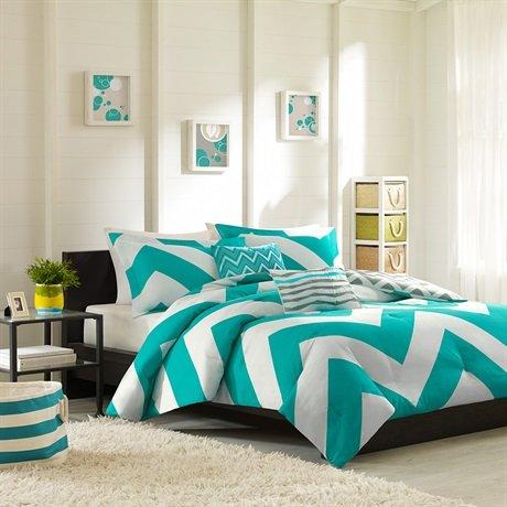 Mizone Libra Comforter And Decorative Pillows Set - Blue - Full/Queen front-183038