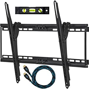 "Cheetah Mounts APTMM2B Flush Tilt (1.3"" Profile) TV Wall Mount Bracket for 32-65 inch LED, LCD and Plasma Flat Screen TVs Up To VESA 684x400 and 165lbs, Including a Twisted Veins 10' Braided High Speed with Ethernet HDMI Cable and a 6"" 3-Axis Magnetic Bubble Level"
