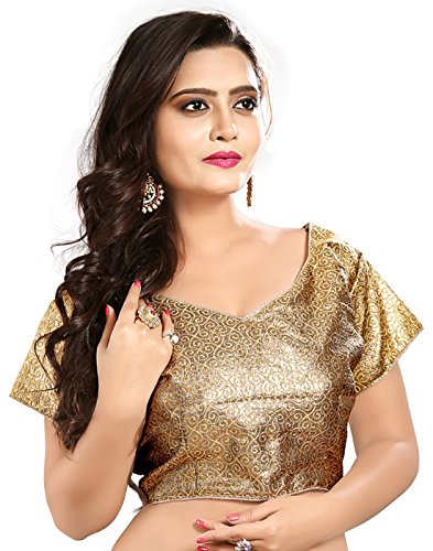 Lookslady Heavy Designer Brocade Gold Embroidered Zari Work Women ethnic wear ready made stitched blouse for wedding & party sarees (only choli)
