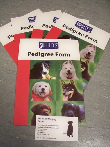 Warwick Whelping Boxes Sherleys 5 Generation Pedigree Forms X 10