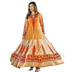 Renishafashion Georgette Anarkali Salwar Kameez With Chiffon Dupatta Dress Material(Orange)