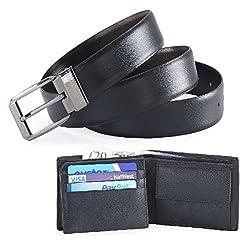 Hide & Sleek Genuine Leather Belt & Wallet Combo - Pack of 2. (Black, 44 Waist)